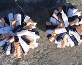 Back To School Bows-Corker Hair Bows, Set of 2- Navy Blue, White, Tan or Customize To Your School Colors