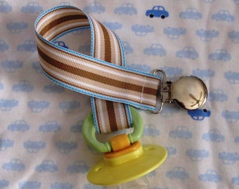 Boys Blue and Brown Striped Pacifier Clip