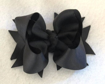 Simple Black Boutique Hair Bow with Ribbon Spikes
