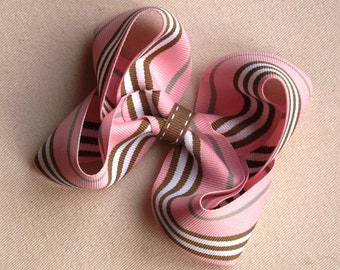 Large Pink & Brown Striped Boutique Hair Bow- The Madison