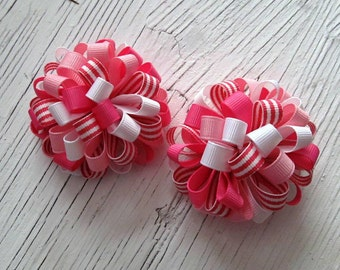 Pink Puffy Loopy Hair Bows- Pink, Hot Pink, White, Pink and White Stripes- Pigtail Bows