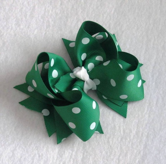 Large Green and White Dots Boutique Hair Bow- Girls Bow- Baby Bow- Toddler Bow- Christmas- St. Patrick's Day