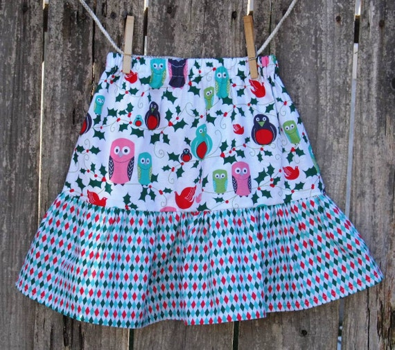 Custom Boutique Christmas Skirt Ho Ho Hoot and Mini Harlequin Michael Miller Fabric Size 6 12 18 24 months 2 3 4 5 Size 3 Ready To Ship