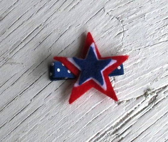 Fourth Of July Wool Felt Star Hair Clip - Red White Blue Patriotic