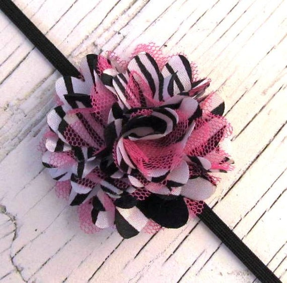 Girls Infant Headband- Mini Zebra and Hot Pink Satin and Tulle Flower on a Black Skinny Headband