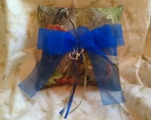 Realtree CAMO wedding ring bearer pillow with blue