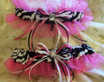 Zebra stripe wedding garter set with hot pink