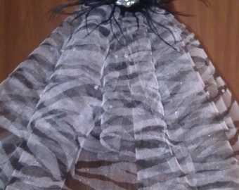 Zebra print Bachelorette Party Veil with crystals/feathers