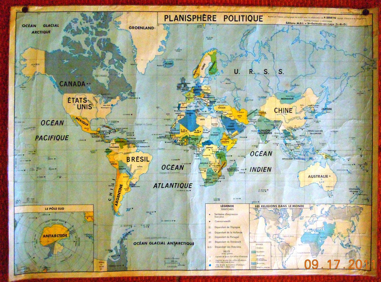 1963 FRENCH Large Laminated World MAP by VintageChichibean
