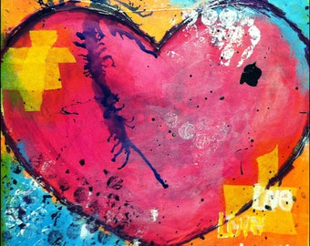 "Original Mixed Media on 8x8 Canvas - Painting Home Decor Artwork - Folk Art - ""My Broken Heart"""