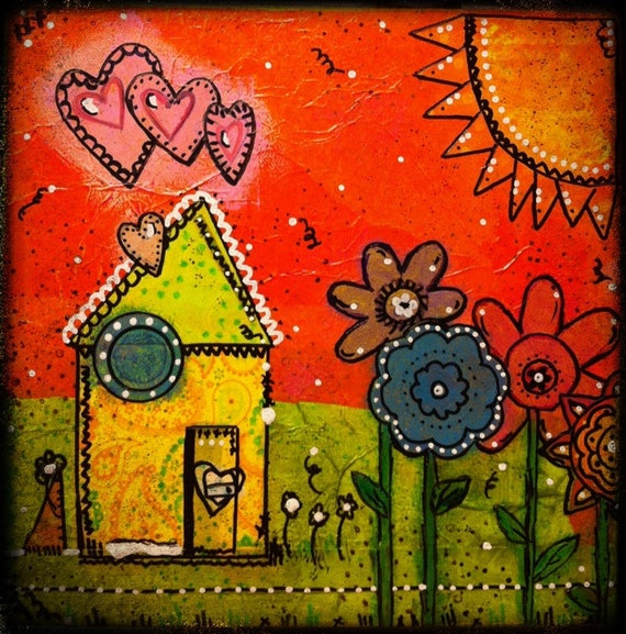"Original Mixed Media on 8x8 Canvas - Painting Home Decor Artwork - Folk Art - ""A Happy Home"""