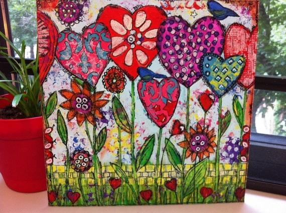"Original Mixed Media on Canvas - Painting Home Decor Artwork- Folk Art  ""Hearts Grow with Love"""