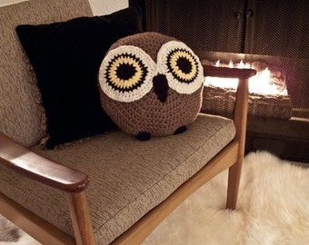 CROCHET OWL PILLOW, Owl Pillow, Crochet Pillow,Brown Pillow