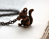 Little Squirrel and Acorn. Charm Necklace