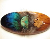 Natural Fancy ... Blue Peacock and Wood Fascinator Barrette