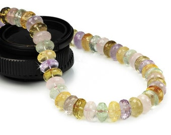 Semi Precious Gemstone Rondelle Mix Bead Necklace