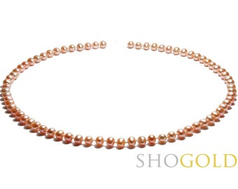 Peach Freshwater Pearl necklace (6,5 mm to 7mm) Free Shipping