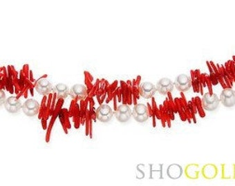 66 Inches  Coral and Freshwater Pearl Necklace