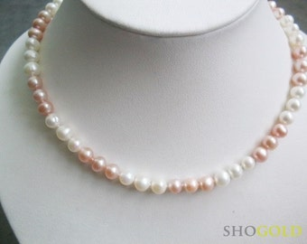 FROM OUR BRIDAL COLLECTION White and Pink pearl necklace