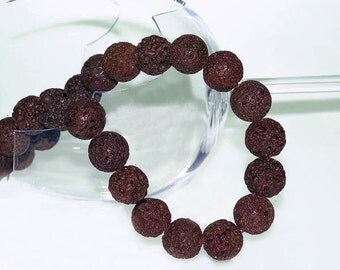 UNIQUE Brown Lava Beads  Strand