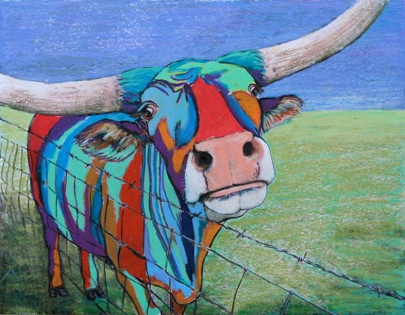 Welcome to Texas, contemporary painting of a Texas longhorn