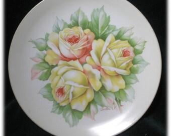 Cheerful Yellow Roses Antique Plate O & EG Royal Austria 1900