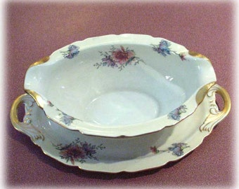 Vintage Conchita Pattern China Gravy Boat with Underplate Colorful Chrysanthemums Gold Trim