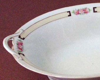Genuine 1920s Handpainted Nippon Handled Open Vegetable Bowl Floral White Ivory