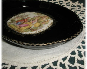 Rep. Da L'Ancien, Limoges Handmade Porcelain Small Tray Black Gold Fait a la Main