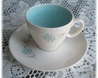 Set of 8 Boutonniere CUP and SAUCER Sets, TS&T, Ever Yours, Blue Flowers White, 1962, Robins Egg Blue