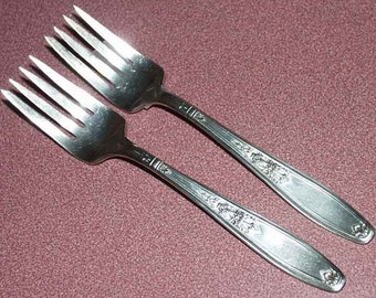 Pair of Silverplate ANTIQUE SALAD FORKS Ambassador by Rogers c.1919