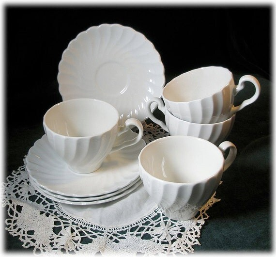 4 Johnson Brothers Snowhite Regency White China Swirl Cup and Saucer Sets