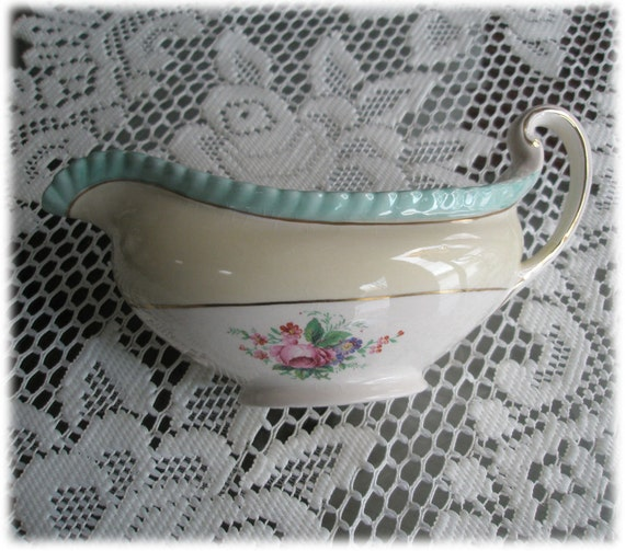 RESERVED for Sherry...Johnson Brothers WindsorWare JB18 Gravy Pitcher Floral Pattern Aqua Fluted Rim Gold Trim