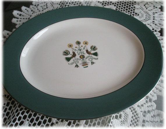 """Mid-Century 14"""" Large Oval Platter Homer Laughlin Cavalier Eggshell Persian Garden CV28"""
