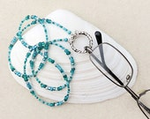 Eyeglass Loop Holder, Eyeglass Chain Leash, Sea Ocean Blue Green, Teal Mix, Like Beach Glass, Mermaid, Handmade Necklace for Reading Glasses