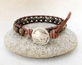 Man's Leather Wrap Bracelet in Paint Brush Jasper with Buffalo Nickel, Handmade Mens Jewelry by CreativeGypsy on Etsy