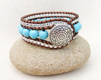 Turquoise and Leather Cuff  Bracelet, Triple Row Leather Wrap, Robins Egg Blue Turquoise, Silver Line Beads, Southwestern, Handmade Jewelry