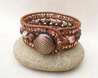 Red Rock Sedona Triple Row Stone and Leather Wrap Cuff Bracelet, Leopard Skin Jasper, Czech Glass Crystals, Handmade Leather Jewelry