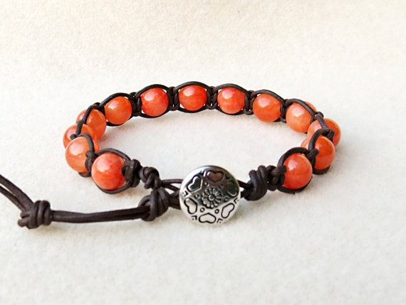 Tangerine Orange Jade Leather Knotted Bracelet, Hearts n Daisy Button, Serenity, Wisdom, Balance, Leather Handmade Jewelry by CreativeGypsy