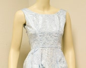 Vintage Satin damask gown Sleveless with scoop back and full skirt in baby blue