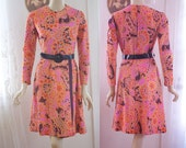 Vintage knit dress in paisley print with faux wrap skirt by Liberty Circle