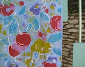 Vtg Fabric, Huge Cherries and Floral in Bold Seventies Colors