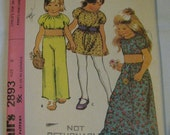 Vintage McCall's Sewing Pattern 2893, size 6 Child's Top, Skirt, Pants and Dress, copyright 1971, groovy halloween costume