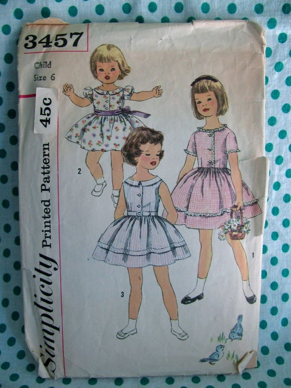 Vintage Simplicity Printed Sewing Pattern 3457 size 6, Child's Dress with Button Up Front, Gathered Skirt and Belt Options, circa 1950s