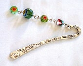 Bookmark with green millefiori beads by Lizardsplay - 3 inch bookmark, 2.2 inch beads