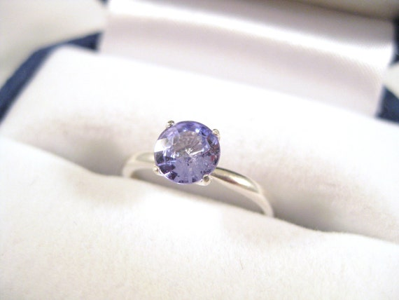 Blue Sapphire Round Solitaire Ring