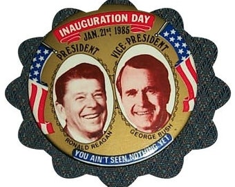 1985 Reagan George Bush Inauguaration Political Pinback Button LARGE Presidential