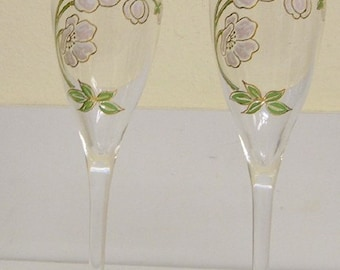 2 Perrier Jouet Floral Hand Painted French Champagne Flutes Paris Apt