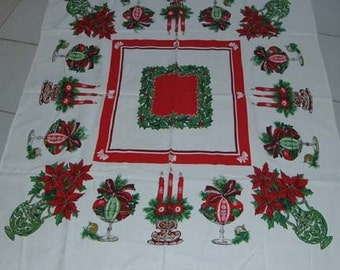 Vintage 50's Christmas Tablecloth Shiny Brite Ornaments Poinsettias Candlelabra