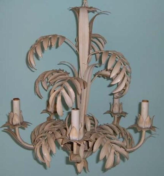 Vintage Tropical Bamboo Palm Leaf Tole Chandelier Metal 5 – Tropical Chandelier